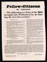 Fellow-citizens of Toronto : the following is a list of the bills brought into Parliament by me during the two last sessions ...