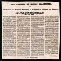 The address of Bishop Macdonell to the Catholic and Protestant freeholders of the counties of Stormont and Glengarry
