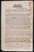 Toronto, 28th May, 1836 : the following is the reply of His Excellency the Lietuenant Governor ...