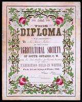 This diploma was presented to ... by the county Agricultural Society of South Ontario, C.W. : for ... at the exhibition held in Whitby, on the 3rd and 4th days of October, 1860