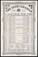 The Irish Canadian calendar for 1892