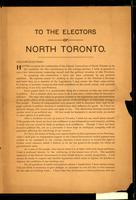 To the electors of North Toronto / E.H. Dewart