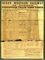 Passenger train time table, to take effect on Monday, July 20th 1863.