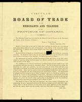 Circular of the Board of Trade to the merchants and traders of the province of Ontario