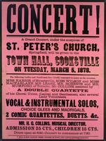 Concert! A grand concert will be given in the Town Hall, Cooksville on Tuesday, March 5, 1878