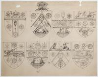 Pencil sketches showing variation in the design of the City of Toronto coat of arms
