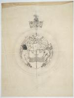 City of Peterborough seal and coat of arms pencil sketch on tissue