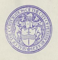 Peterborough seal stamp (purple on white)