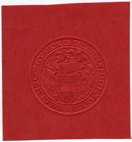 Peterborough seal embossed on red paper