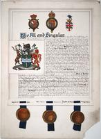Overpainted photograph of the completed charter from the Royal College of Heralds granting officialdom to the coat of arms for the City of Peterborough