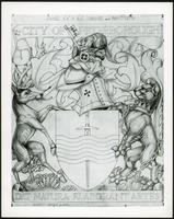 Photograph of the final sketch for the coat of arms of the City of Peterborough