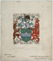 Pencil, ink and watercolour on card drawing for the City of Peterborough coat of arms