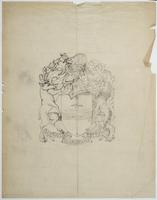 Pencil on tissue sketch for the City of Peterborough coat of arms (3)