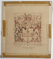 Pencil and ink mounted on board tissue sketch for the City of Peterborough coat of arms