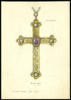 Grace Church on-the-hill Pectoral Cross pencil and watercolour sketch