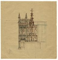 Grace Church on-the-hill Reredos ink sketch