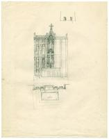 Grace Church-on-the-hill Reredos detail sketch with above view
