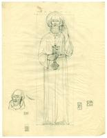 Grace Church-on-the-hill Reredos figure sketch of St. Peter with alternate head detail