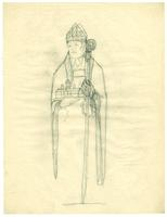 Grace Church-on-the-hill Reredos figure sketch of John Strachan - upper body and staff