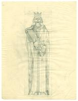 Grace Church-on-the-hill Reredos figure sketch of King David