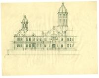 Grace Church-on-the-hill Reredos pencil on paper sketch of Old Trinity College, Queen Street West, Toronto