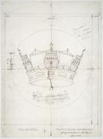 Trinity College war memorial sketch full size crown detail