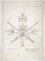 Trinity College war memorial sketch full size sword, maple leaf and crown detail