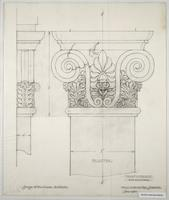 Trinity College war memorial full size pilaster detail in pencil