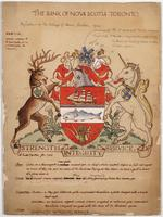 Bank of Nova Scotia arms sketch (coloured) with description