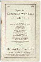 Special condensed war time price list