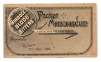 Burdock Blood Bitters pocket memorandum book 1890